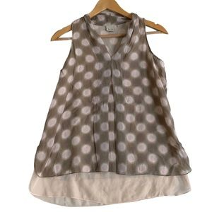ECRU 100% Silk Brown Pink Polka Dot Sleeveless Blouse Size XS Tank Top